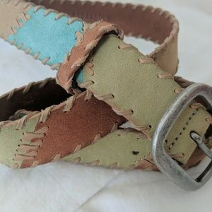 Fossil Leather Patchwork Belt